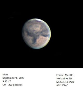 A view of Mars on Sept. 6, 2020, as seen from New York, showing Syrtis Major, Sabaeus Sinus and Hellas.