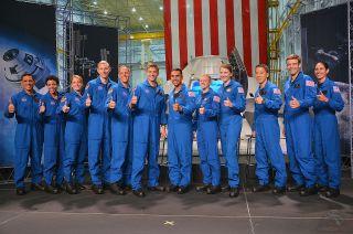 The 2017 NASA astronaut class: (from left) Frank Rubio, Jessica Watkins, Loral O'Hara, Warren Hoburg, Bob Hines, Matthew Dominick, Raja Chari, Zena Cardman, Kayla Barron, Jonny Kim, Robb Kulin and Jasmin Moghbeli.