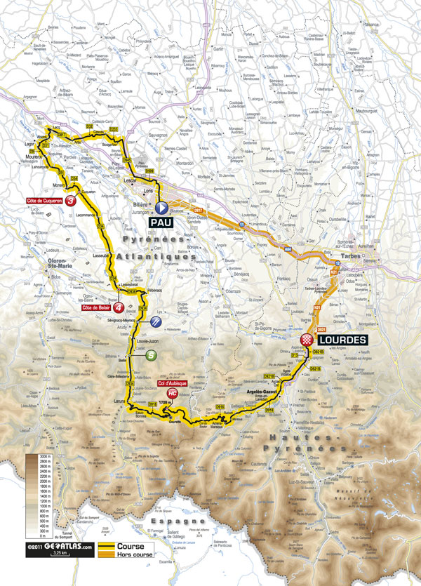 Stage 13 map, Tour de France 2011