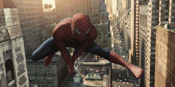 Tobey Maguire's Spider-Man swinging through New York City in Spider-Man 2