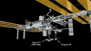 This graphic shows the Progress 45 unmanned cargo ship just after its docking on the Pirs docking compartment at the International Space Station.