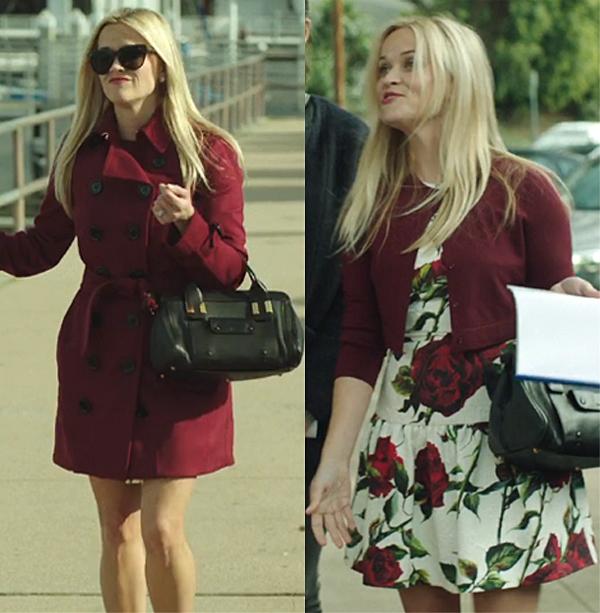 Big Little Lies premiere Madeline Burberry trench coat rose print dress Chloe bag