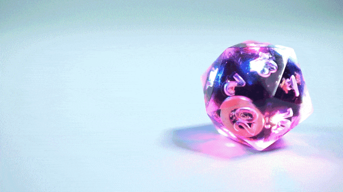 These dice have RGB lights, Bluetooth connectivity, and charge wirelessly