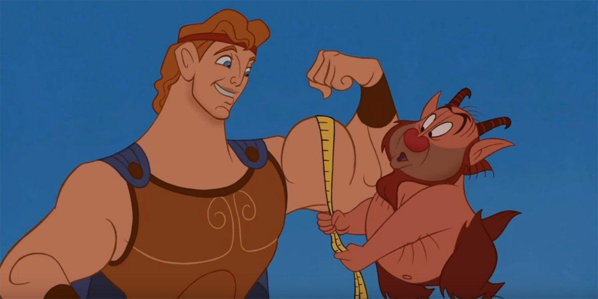 Phil Measuring Herc's biceps in Hercules