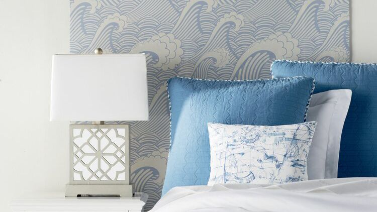 DIY headboard with wallpaper
