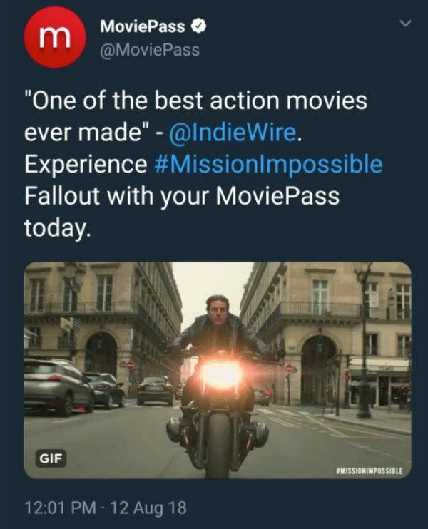 Tom Cruise Mission Impossible Fallout Ethan Hunt Moviepass tweet