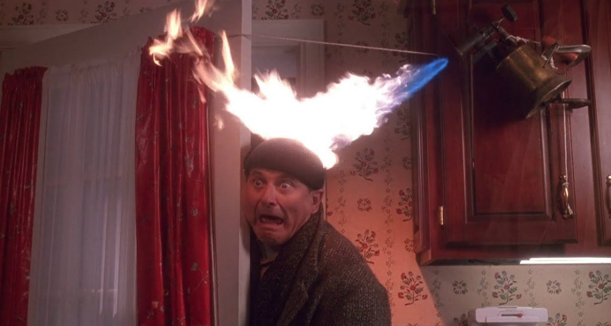 Harry's head set on fire in Home Alone.