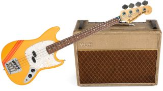 Former Rolling Stones bassist's Bill Wyman's 1969 Fender Mustang bass and 1962 Vox AC-30 Normal amp