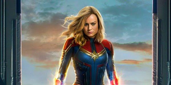 Brie Larson in Captain Marvel full costume on movie poster