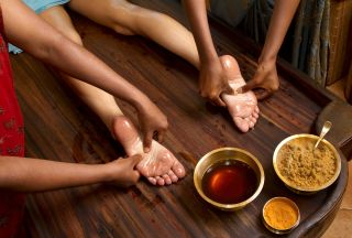 traditional Ayurvedic oil foot massage, health