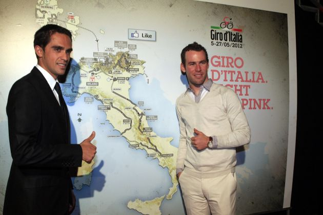 Alberto Contador and Mark Cavendish, Giro d'Italia 2012 route presentation