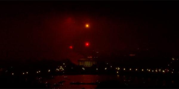 hazy fourth of july fireworks