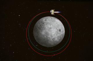 The lunar orbit of China's Chang'e 3 moon lander carrying the Yutu rover is shown in this graphic released by the China Aerospace Science and Technology Corporation. Chang'e 3 will land on the moon on Dec. 14, 2013.