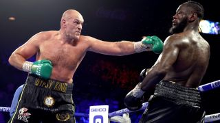 Tyson Fury punching Deontay Wilder in their second encounter, the two will tangle again in the Wilder Fury 3 live stream