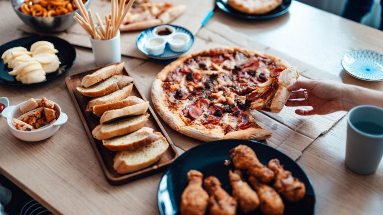 ultra-processed foods like pre-prepared pizza, chicken wings