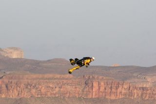 "Yves ""JetMan"" Rossy flying over the Grand Canyon. Credit: André Bernet"