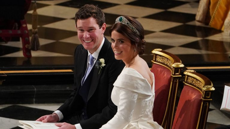Jack Brooksbank and Princess Eugenie of York during their wedding ceremony at St. George's Chapel on October 12, 2018 in Windsor, England