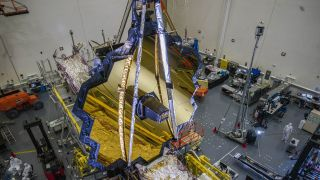 NASA's James Webb Space Telescope in the clean room at Northrop Grumman, Redondo Beach, California, in July 2020. Its launch is now scheduled for Oct. 31, 2021.