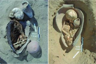Here, the remains of children buried in pots at a cemetery in Adaïma, Egypt, dating to the Pre- to Early Dynasticperiod (5500 to 2700 B.C.).