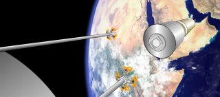 Sticky Boom Retrieving a Space Shuttle-sized Payload