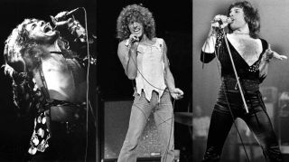 Led Zeppelin's Robert Plant, The Who's Roger Daltrey and Queen's Freddie Mercury singing on stage