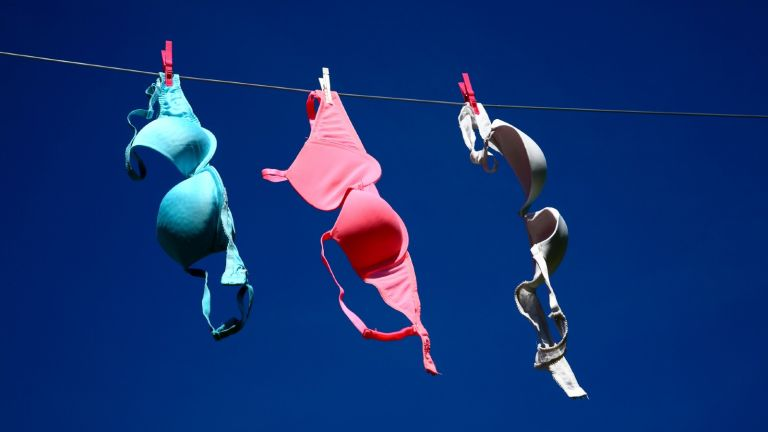 how often should you wash your bra: bras on washing line