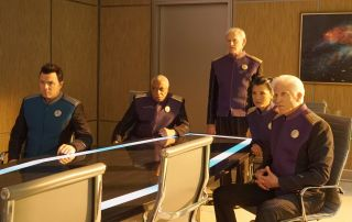"Seth MacFarlane and guest stars Ron Canada, Victor Garber, Kelly Hu and Ted Danson in a scene from ""The Orville"" episode 'Sanctuary.'"
