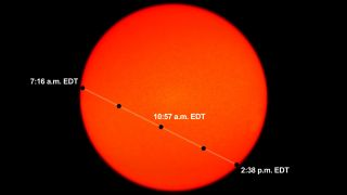 This NASA graphic depicts the time and location of Mercury as it crosses the face of the sun during the May 9, 2016 Transit of Mercury event.