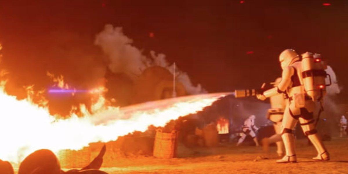 A flametrooper sets fire to this village on Jakku in Star Wars: The Force Awakens
