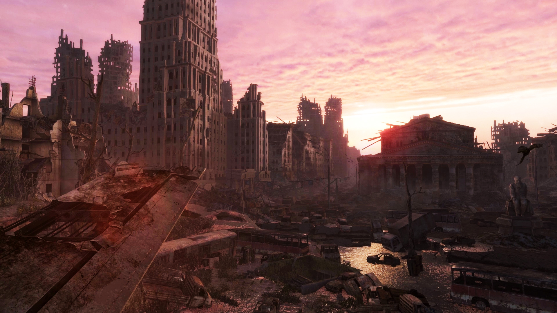 Apocalyptic city shot at sunset