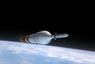 A heavy-lift rocket carrying NASA's Orion Multi-Purpose Crew Vehicle launches on the Exploration Test Flight 1 in this still from a NASA video.