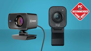 Two webcams pictured on a blue gradient background with a PC Gamer Recommended badge.