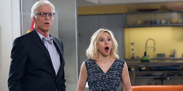 The Good Place Michael and Eleanor are shocked NBC Ted Danson Kristen Bell