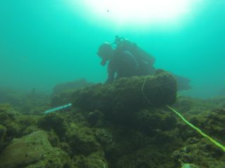 Diver at wreck site measuring cannon