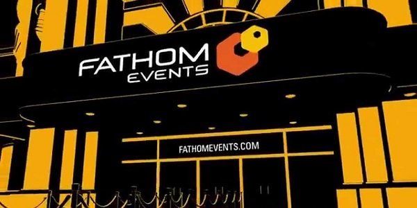Fathom Events logo on a theatrical marquee