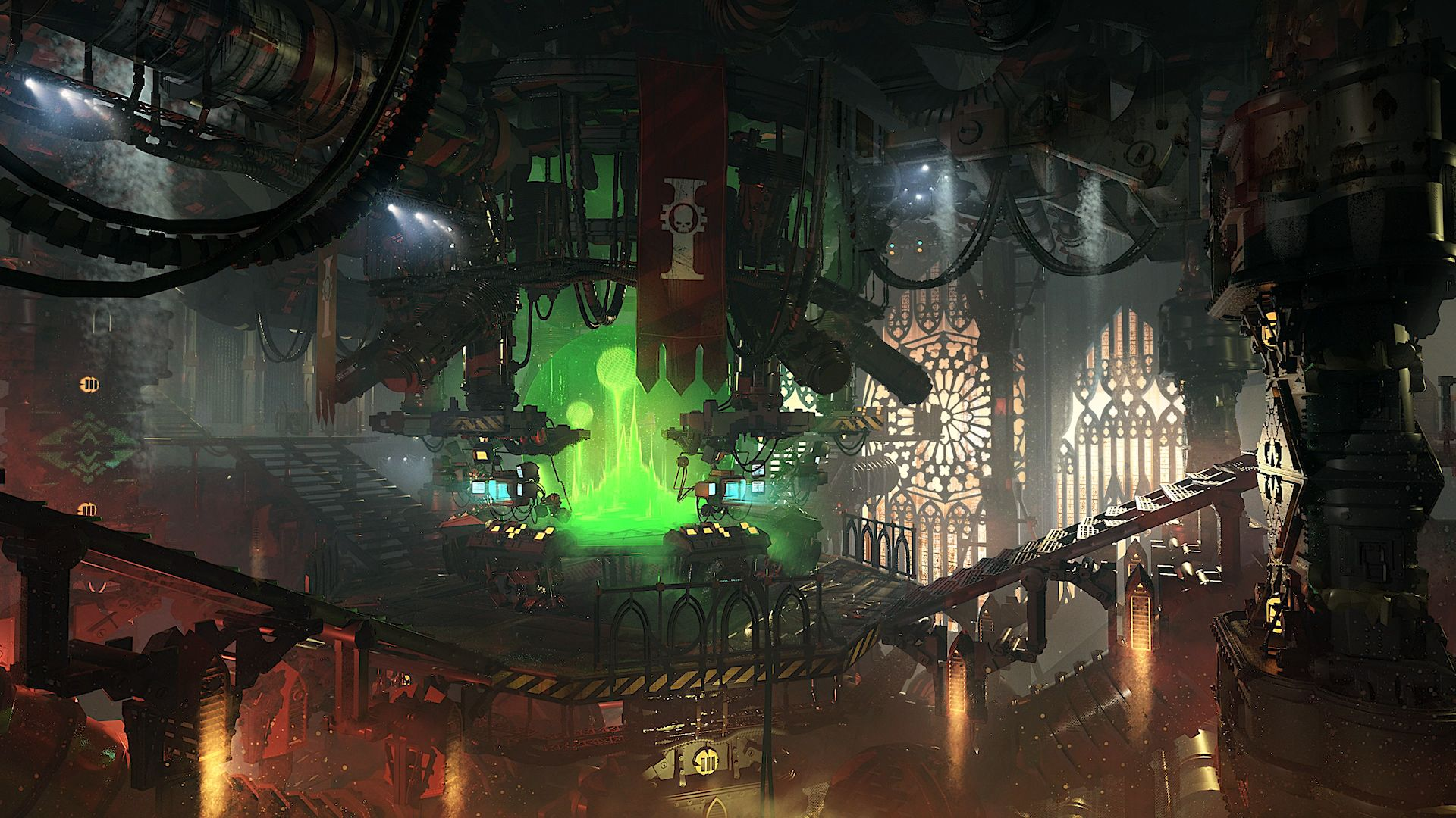 Darktide's hub, with a bank of monitors inside a starship