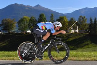 Victor Campenaerts (Belgium) en route to the bronze medal in the elite men's individual time trial at the 2018 World Championships in Innsbruck, Austria