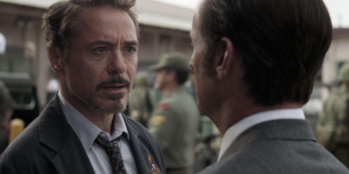 Robert Downey Jr. and John Slattery in Avengers: Endgame