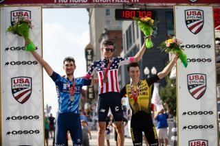 Bassett, Howes and Powless on the podium at the 2019 US pro road race
