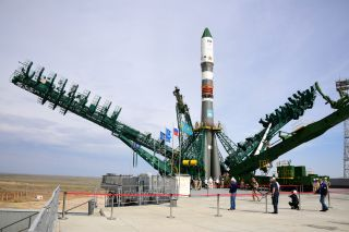 A Soyuz rocket stands ready to launch the Progress 75 cargo resupply ship to the International Space Station.