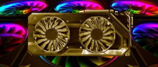 Gold graphics card on RGB background