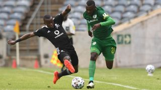 Tshediso Patjie of Baroka FC tackled by Siphesihle Ndlovu of Orlando Pirates