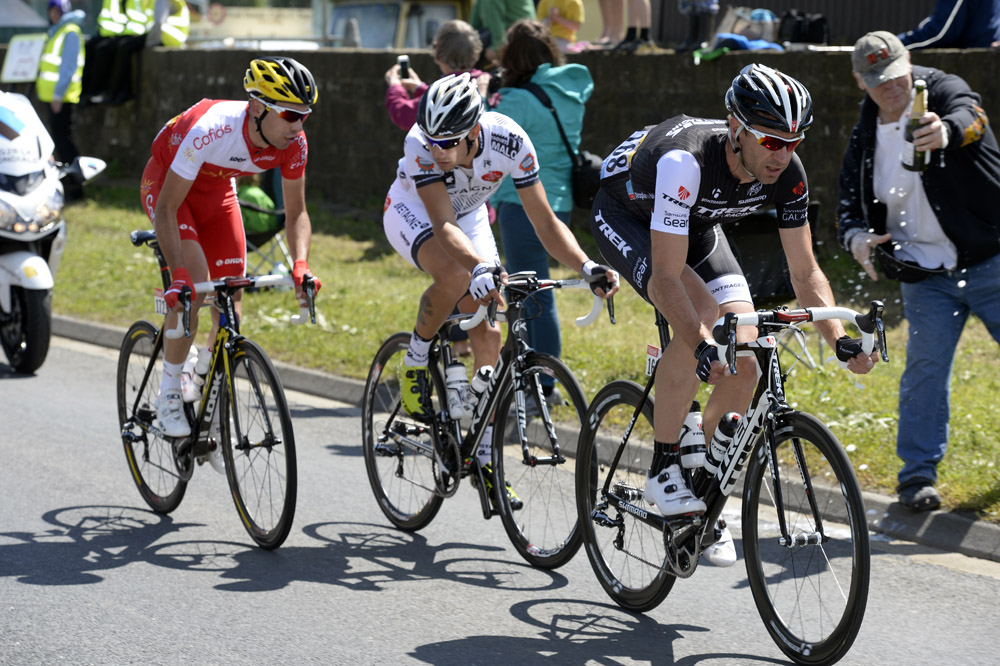 Photo: Jens Voigt leads an escape on stage one of the 2014 Tour de France.