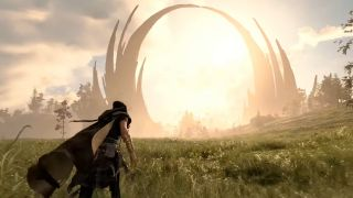 Forspoken Frey crossing field of grass towards large structure