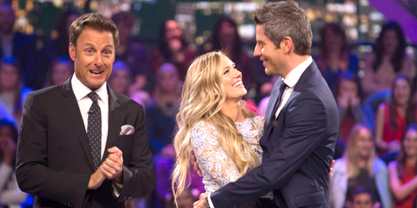 Chris Harrison Lauren Burnham and Arie Luyendyk Jr. on The Bachelor After the Final Rose special on