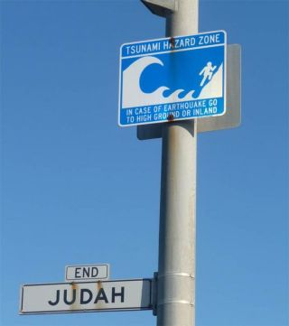 A sign designating the tsunami hazard zone in San Francisco, Calif. Although tsunamis are less common in the northeast Atlantic and Mediterranean, they are possible.
