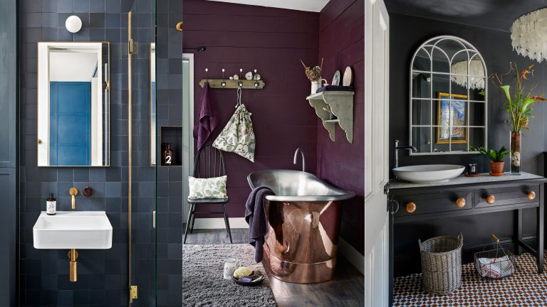 A collection of dark bathroom ideas showing a composite of three different dark bathrooms