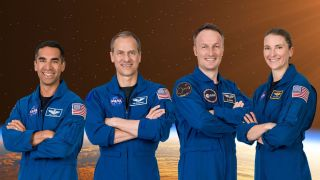 The official crew portrait of the SpaceX Crew-3 mission: (from left) Commander Raja Chari and pilot Thomas Mashburn, both NASA astronauts; mission specialist Matthias Maurer of the European Space Agency; mission specialist Kayla Barron of NASA.