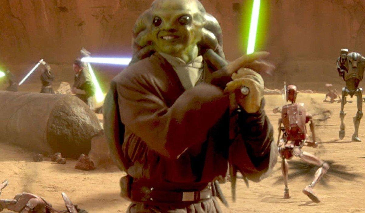 Kit Fisto smiling in battle Star Wars