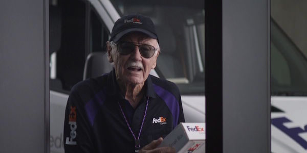 Stan Lee as a Fed Ex employee in Captain America: Civil War